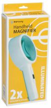 Mercury 700.040 Handheld 100mm Diameter Glass Lens Illuminated Magnifier - White