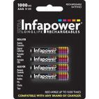 Infapower Rechargeable AAA Ni-MH Multi Usage Batteries 1.2v 1000mAh 4 Pack New
