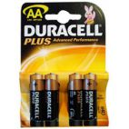 Duracell Plus Alkaline Battery AA Standard Size 4 Pack