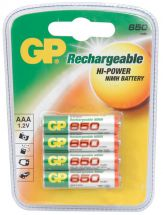 EkoPower NiMH Rechargeable 650mAh AAA Batteries 4 Pack GP 656.158
