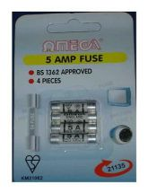 Omega 21135 Mains Electrical Safety Plug Fuses UK 5 Amp Pack of 4 Blister Pack
