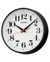 Seiko QXA474K Classic Style Black Wall Clock With Red Sweeping Second Hand - New