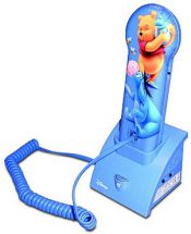Disney Winnie the Pooh Slim Corded Phone Novelty Character Voice Ringer Blue New