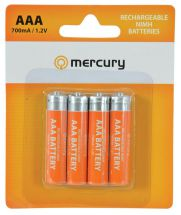 Mercury AAA Rechargeable NiMH Batteries 700mA Pack of 4 656.128
