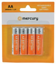Mercury 4 Pack of 2800mAh Rechargeable AA Batteries 656.126