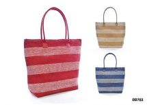 KS Brands BB0783 Nautical Stripe Paper Straw Bag Pu Handles Navy Red or Beige