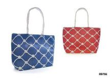 KS Brands BB0786 Rope Printed Nautical Themed Paper Straw Bag Rope Handles - New