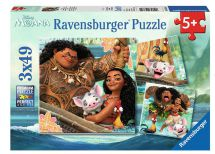 Ravensburger 09385 High Quality Disney Moana 3 x 49 Jigsaws Pieces Puzzle Game