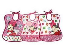 Tomy Y10099 Baby Bib 6 Month+ Assorted Minnie Mouse Designs Water Proof Vinyl
