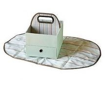 JJ Cole JDCGS Baby Nursery Changing Mat & Caddy Accessory Box Brown Green Stripe