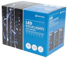 QTX 155.486 240 LED String Icicle Lights White With Controller 8 Sequences - New