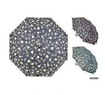 KS Brands UU0233 Ladies Fashion Flower Print Umbrella With Crook Handle - New