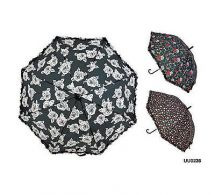 KS Brands UU0236 Ladies Fashion Walking Umbrella With Frilled Edges Crook Handle