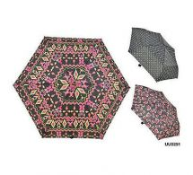 KS Brands UU0251 Ladies 3 Section Supermini Umbrella Assorted Aztec Rose Designs