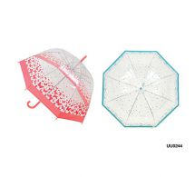 KS Brands UU0244 Ladies Fashion Butterfly/Bird Print Dome Umbrella Pink/Blue New