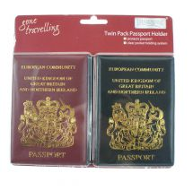 Boyztoys RY192 Passport Protective Case Cover Holder Travel Twin Pack Black Red