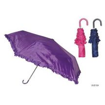 KS Brands UU0184 Solid Colour 3 Section Supermini Umbrella With Frill Edge - New