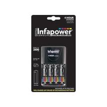 Infapower C003 4 Hour Battery Charger 4x Rechargeable AA Batteries Included New