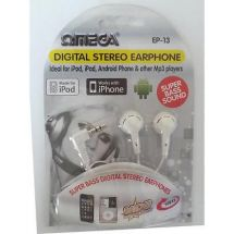 Omega 10013 Digital Stereo In Ear Headphones Super Bass Silver Plated Plug White