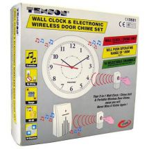 Texson 17535 Battery Powered Wireless Cordless Home Clock Door Chime Twin White
