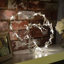 Lyyt 155.660 Energy Efficient Decorated with Trasparent Beads LED 2 Hearts Light