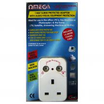Omega 21155 One Way Plug In Single Socket Surge Protector Fused Adaptor 13A New