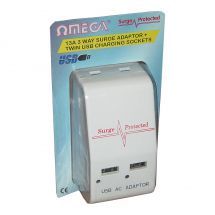 Omega 21185 Surge Protected 3 Way Triple Plug & 2 USB Socket Mains Power Adaptor