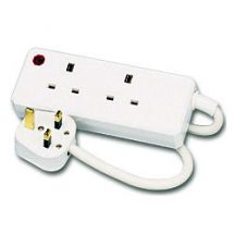 Omega 21323 Double Gang 2 Way 3m Mains Extension Lead UK Plug 13A Fused - White