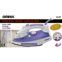 Omega 30701 Steam Spray Clothes Iron 2600w Non Stick Ceramic Soleplate Purple
