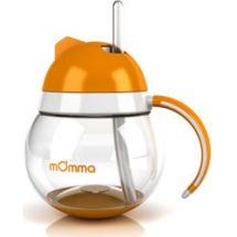 Tomy mOmma Baby Cup with Soft Tip Straw 250ml - Orange