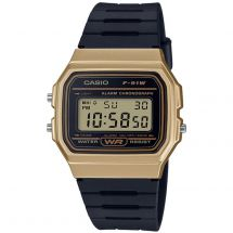 Casio F91WM-9A Casual Digital Watch with Black Rubber Strap & Gold Plated Case