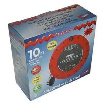 Omega 21460 4 Way 10 m Metre 13 A Amp Reel Thermal Cut Out Mains Extension Lead