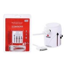 Lloytron A1182 SKROSS World Plug Travel Adaptor USB Charger iPod Cable - White