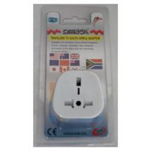 Omega 21122 Travel Plug Converter Adaptor South Africa Mains UK 3 Pin 13A White