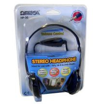Omega HP-30 Stereo Over Ear Headphones Volume Control iPod Mp3 Players Black New