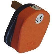 Omega 21084-O Single Fused Mains Electrical UK 3 Pin Plug High Visibility Orange