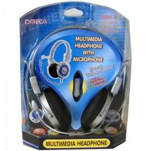 Omega HMP-10 Stereo Full Over Ear Headphones & Microphone Headset Volume Control