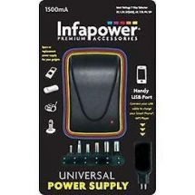 Infapower 1500mA Universal Multi-Voltage Power supply with USB Port