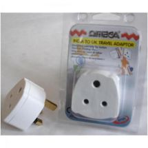 Omega 21121 Travel Plug Converter Adaptor India Type Mains to UK 3 Pin 13A White