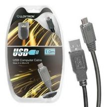 Lloytron A2332 Micro USB 2.0 Cable Smartphone Lead Male Type A MircoB 1.0m Black