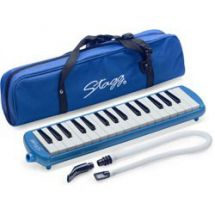 Stagg MELOSTA32 Melodica Reed Wind Piano Plastic Keyboard Blue With Carry Case