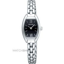 Pulsar PEGF45X1 Quartz Analogue Movement Stainless Steel Black Dial Ladies Watch