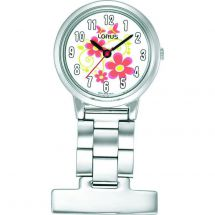 Lorus RG237HX9 Nurses Full Figure Display Fob Watch with Flower Pattern Dial