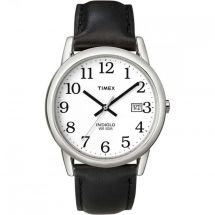 Timex T2H281 Genuine Leather Men's Easy Reader Watch with Date - Black/Silver