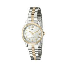 Timex T2M828 Ladies Elevated Classics Dress Watch Two Tone Strap Silver/Gold New