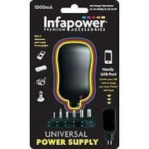 Infapower 1000mA Universal Multi-Voltage Power supply with USB Port