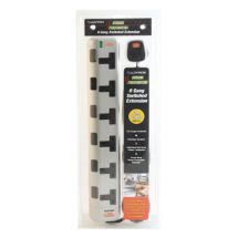 Lloytron A1002 6 Way Switched 2m Extension Lead Surge Protector - Silver & Black