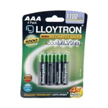 Lloytron B1004 4 Pack NIMH AccuUltra Rechargeable Battery AAA Powerful 1100mAh