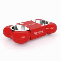 Hing BBR02 Bone Shaped Dog Bowl Rubber and Metal Design Easy Clean - Red - New