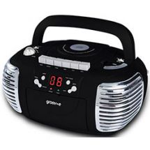 Groov-e GVPS813 Retro CD Player AM/FM Radio Cassette Boombox Aux Input LED Black